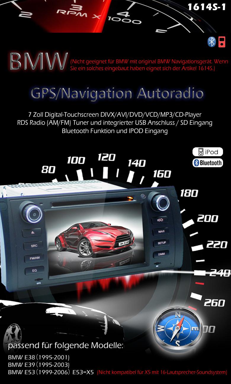 2 din autoradio gps navigation dvd speziell f r bmw e38 e39 e53 x5 bmw car. Black Bedroom Furniture Sets. Home Design Ideas