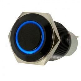 Druckschalter rund 16mm  AN/AUS, aus Aluminium schwarz mit LED-Leuchtring Blau