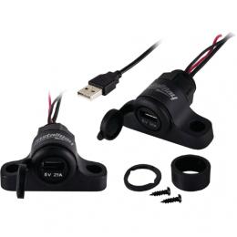 Motorrad USB Ladegerät Handy Stecker Adapter mit Schalter, wasserdicht, schwarz