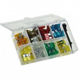 Sortiments-Box-100Stück:  KFZ-Flachsteck-Sicherungen