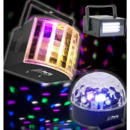 """LED Lichteffekt Set """"PARTY-PACK"""" 3-teilig , 230V"""