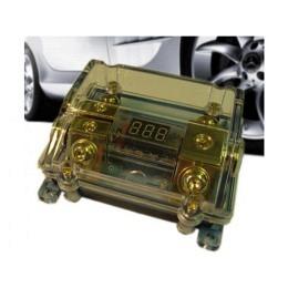 Sicherungsblock mit LED Anzeige 1x 47mm² In, 2x 18mm² Out, gold