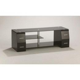TV-Möbel, mit 4 Schubladen, Schwarzglas, Berling W02-BS