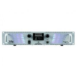 "PA-Verstärker, McTaatoo, 2x500W, USB/SD, 19""/2HE, silber, LED Bluestream 1000si"