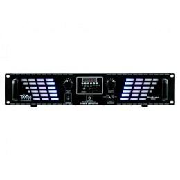 "PA-Verstärker, McTaatoo, 2x350W, USB/SD, 19""/2HE, schwarz, LED Bluestream 700bl"