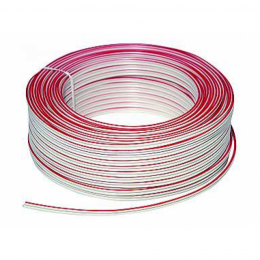 Lautsprecherkabel 2x 0,75 mm² 24x0,2 mm, 50m-Ring, weiß + Markierung
