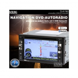 "2-DIN Autoradio, GPS/Navigation, 6"", SWC, IPhone-BT & IPod-ready, Berling +Karte"