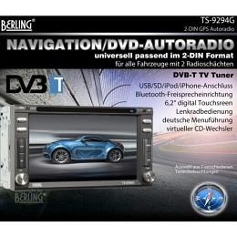 "2-DIN Autoradio, GPS/Navigation, 6,2"", DVB-T, iPhone-Bluetooth, Berling TS-8494G"