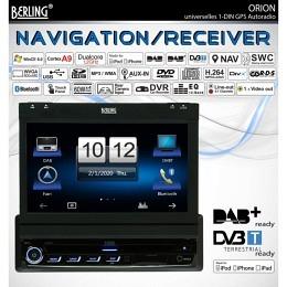 "1-DIN Autoradio, DAB+ ready, GPS/Navigation, 7"", MFI, Berling ORION"