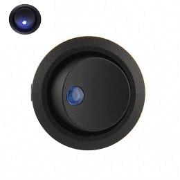 Kippschalterr rund AN/AUS, LED, blau beleuchtet 12V/16A , schwarz