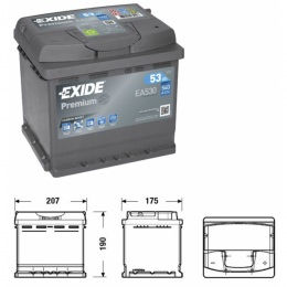Exide Premium EA530 Superior Starterbatterie 12V 53Ah