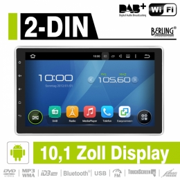 2-DIN Autoradio mit 10.1 Zoll Display, Android, DAB+ ready, Berling AN-1000