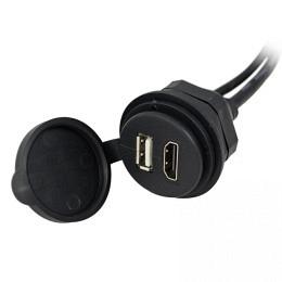 HDMI/USB-Einbaubuchse mit 300cm Kabel