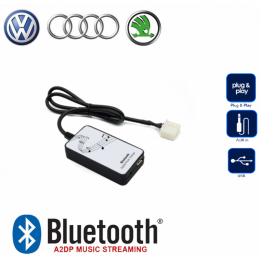 Bluetooth A2DP, USB, AUX Interface für VW, Audi, Seat, Skoda bis 2005-> Mini ISO