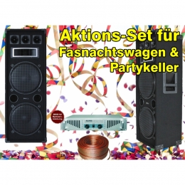 Set bestehend aus 2xPA-Lautsprecher, 1xVerstärker und 10 Meter Lautsprecherkabel