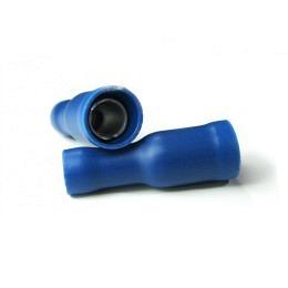 Rundstecker 1.5 mm² 2.5 mm² Stift-Ø: 4 mm Teilisoliert Blau, 100 Stück