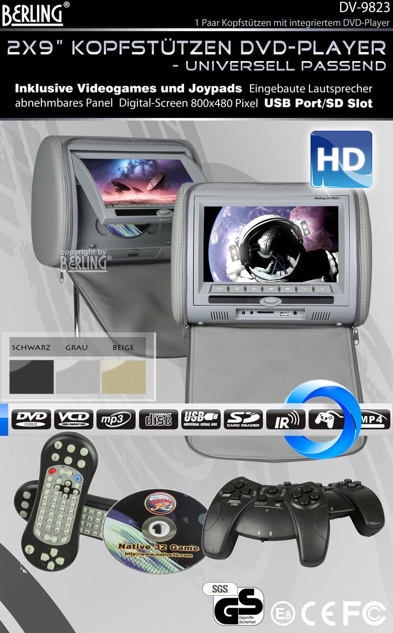 9 berling kopfst tzen mit integriertem dvd player grau. Black Bedroom Furniture Sets. Home Design Ideas