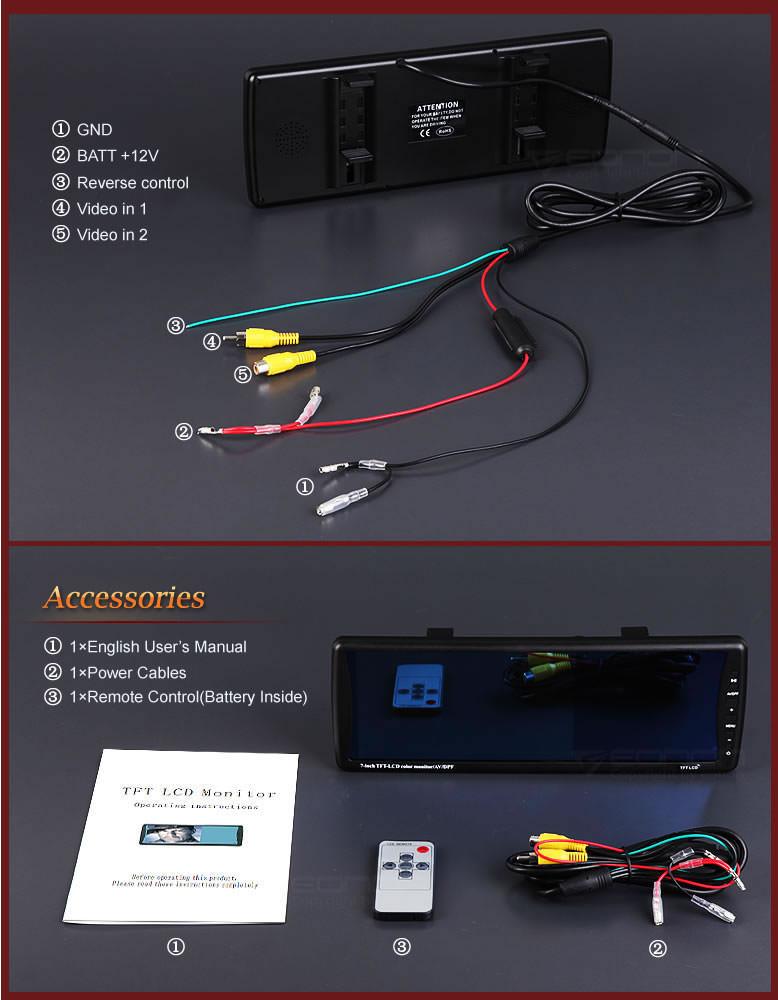r ckspiegel monitor 7 eonon l0416 monitore car. Black Bedroom Furniture Sets. Home Design Ideas