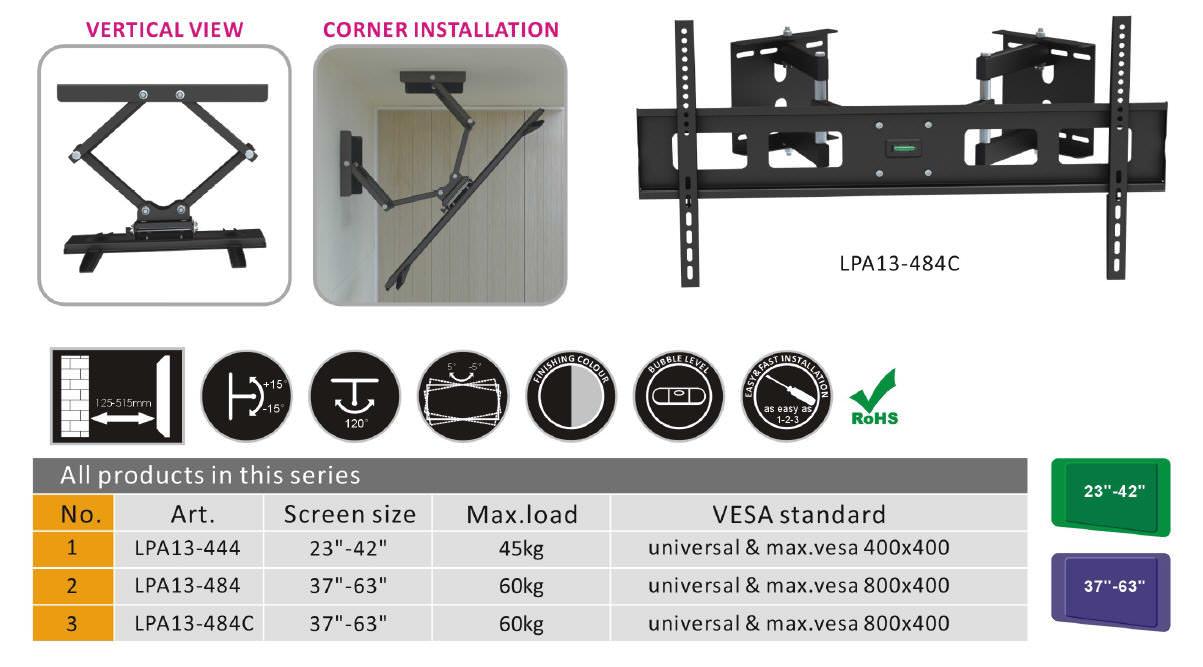 speziell f r eck montage universal wandhalterung bis 63 berling lpa13 484c tv. Black Bedroom Furniture Sets. Home Design Ideas
