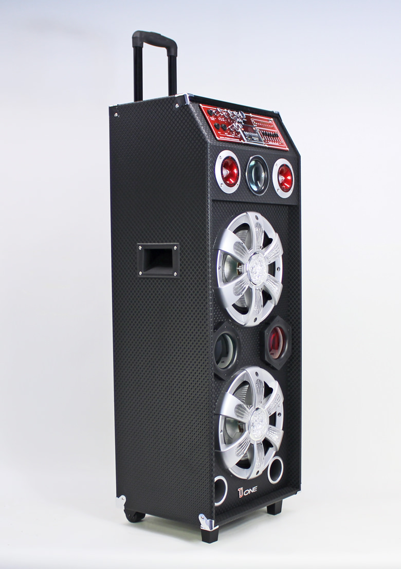 mobiler lautsprecher mit akku usb sd mp3 bluetooth led 120w tj one tr 1001 portable. Black Bedroom Furniture Sets. Home Design Ideas