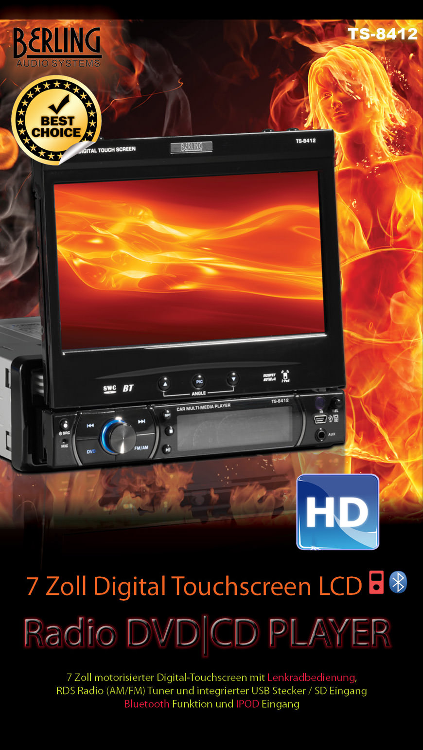 1 din autoradio dvd usb sd bt swc klavierlack berling. Black Bedroom Furniture Sets. Home Design Ideas