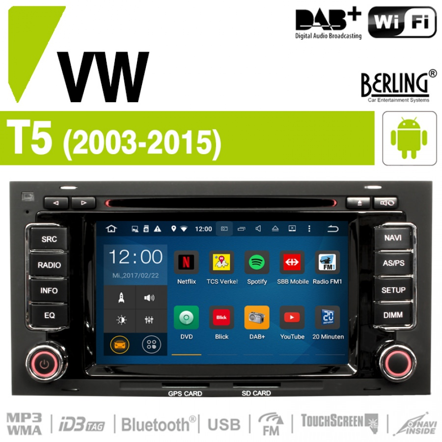 autoradio navigation vw t5 2003 2015 inkl dab berling ts 1102hd 1 android dab vw. Black Bedroom Furniture Sets. Home Design Ideas