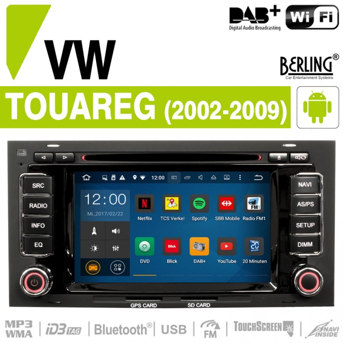 autoradio f r vw touareg 2002 2009 inkl dab berling ts 1102hd 1 android touareg car. Black Bedroom Furniture Sets. Home Design Ideas