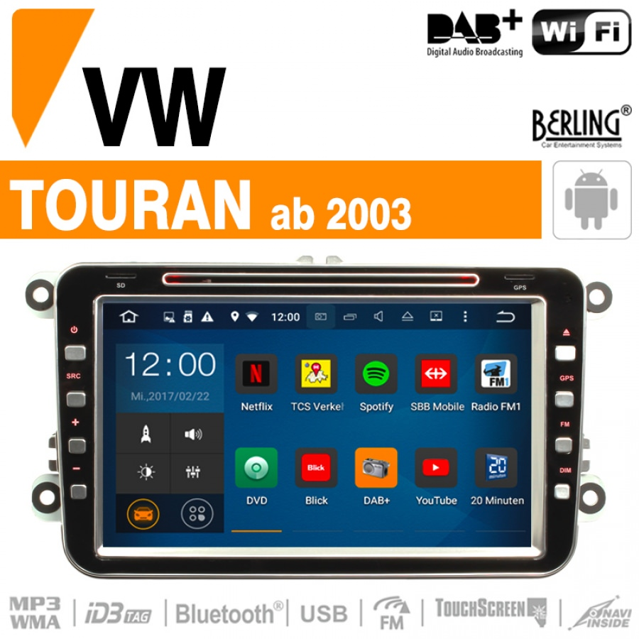 autoradio navigation f r vw touran ab 2003 berling ts. Black Bedroom Furniture Sets. Home Design Ideas