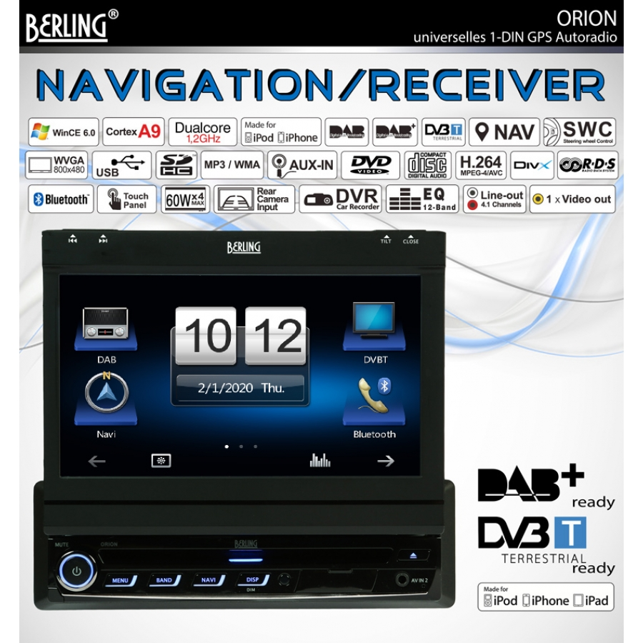 1 din autoradio dab ready gps navigation 7 mfi. Black Bedroom Furniture Sets. Home Design Ideas
