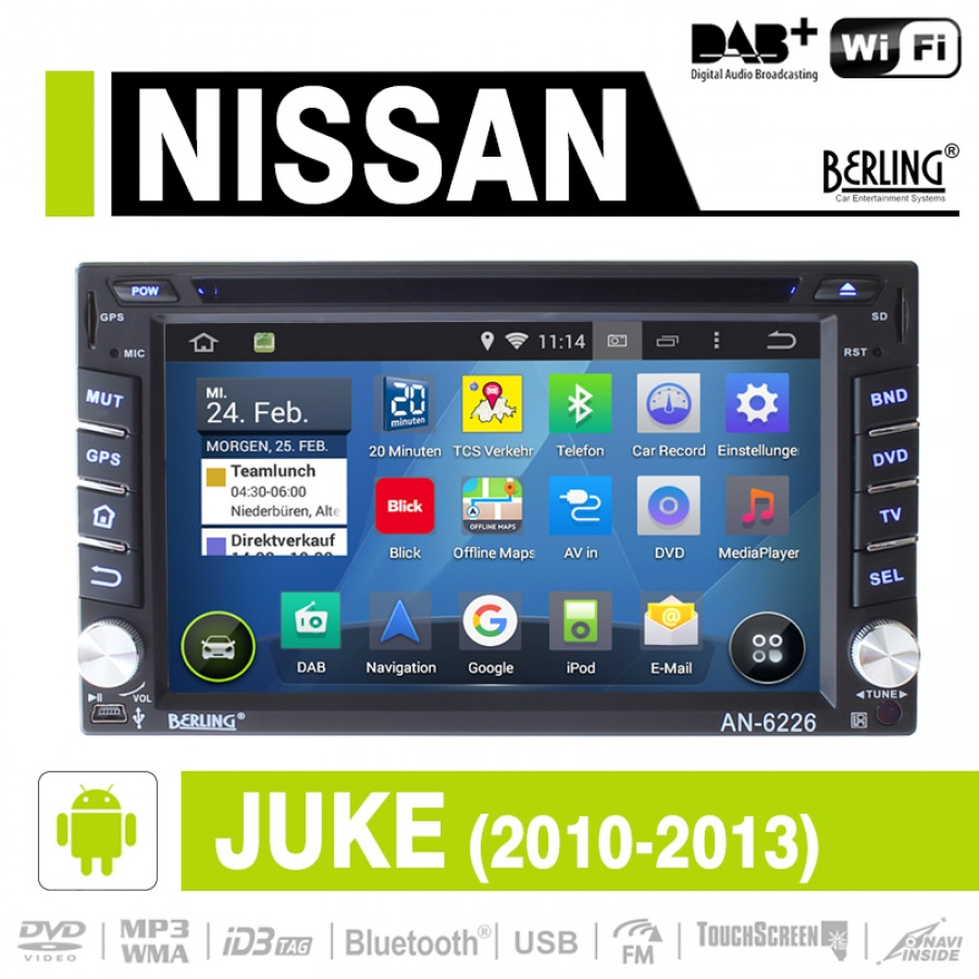 android autoradio f r nissan juke 2010 2013 dab ready berling an 6226 juke car media. Black Bedroom Furniture Sets. Home Design Ideas