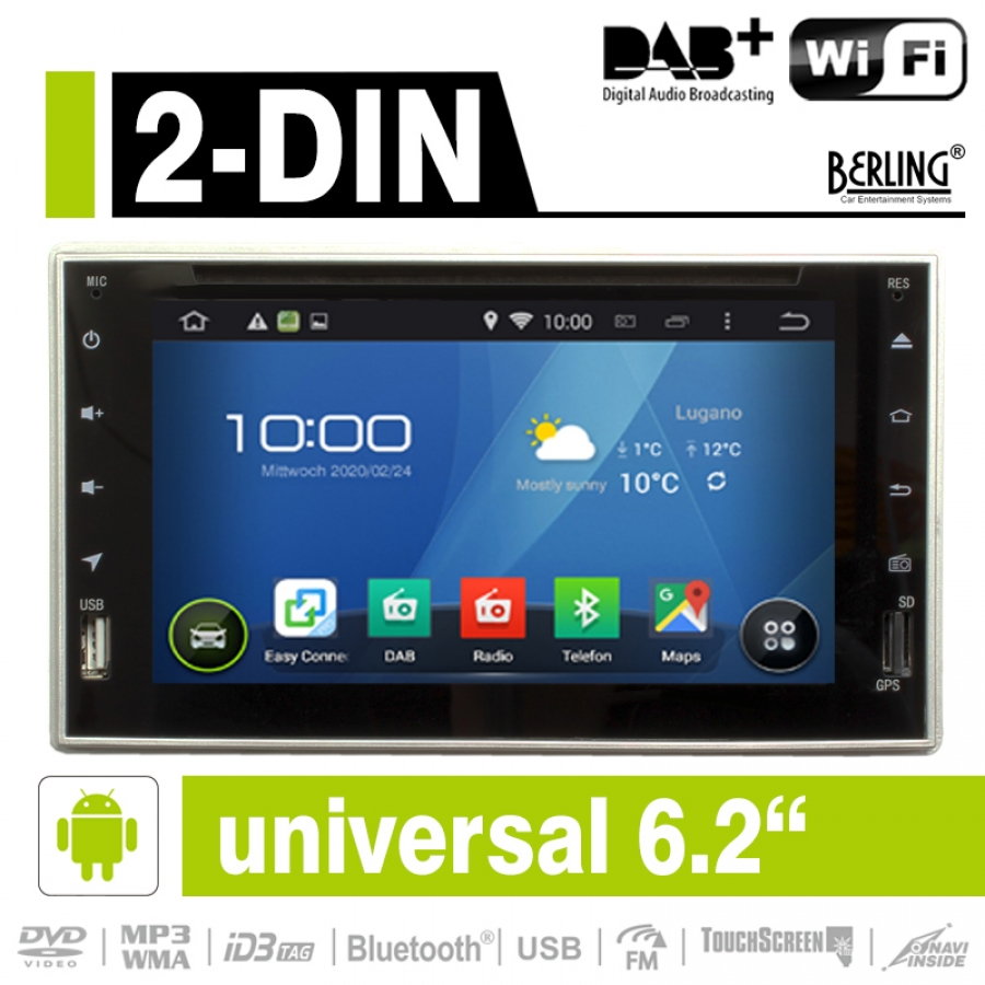 2 din autoradio android dab ready 6 2 kapaz display. Black Bedroom Furniture Sets. Home Design Ideas
