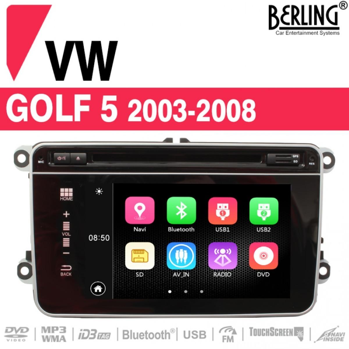 autoradio navigation f r vw golf 5 2003 2008 berling. Black Bedroom Furniture Sets. Home Design Ideas