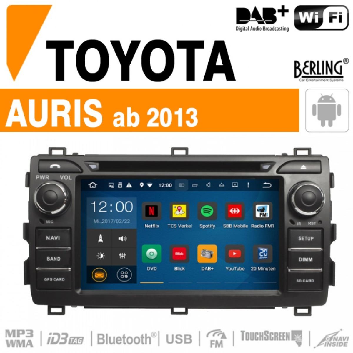 autoradio navigation f r toyota berling ts 1236hd android version auris car gmbh. Black Bedroom Furniture Sets. Home Design Ideas