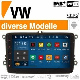 Android-Autoradio Navigation passend zu VW, BERLING TS-1155HD