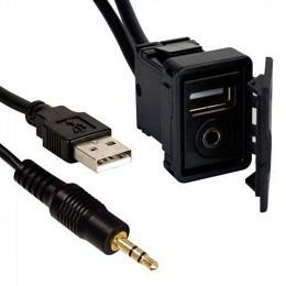 USB und AUX 3.5mm Einbaubuchse mit 1.8m Kabel