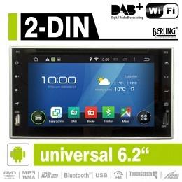 "2-DIN Autoradio, Android, DAB+ ready, 6.2"" kapaz. Display, Berling AN-6505"